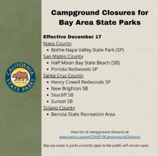 The Parks are open for day use, but the campgrounds are now closed. #staySafe #hikeSafely #castateparks #bayarea #santacruzmountains #portolaandcastlerockfoundation